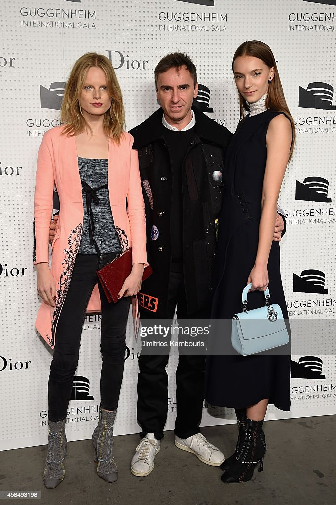 Model Hanne Gaby Odiele, Fashion designer Raf Simons and Irina Liss attend the Guggenheim International Gala Pre-Party made possible by Dior on November 5, 2014 in New York City.