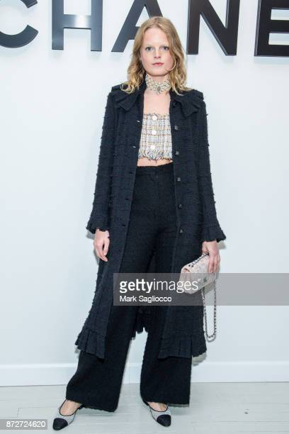 Model Hanne Gaby Odiele wearing CHANEL attends the CHANEL celebration of the launch of The Coco Club at The Wing Soho on November 10 2017 in New York...