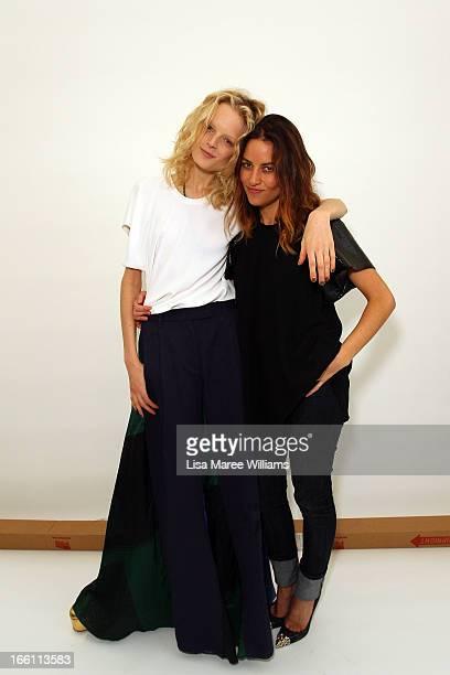 Model Hanne Gaby poses with designer Kym Ellery backstage ahead of the Ellery show during MercedesBenz Fashion Week Australia Spring/Summer 2013/14...