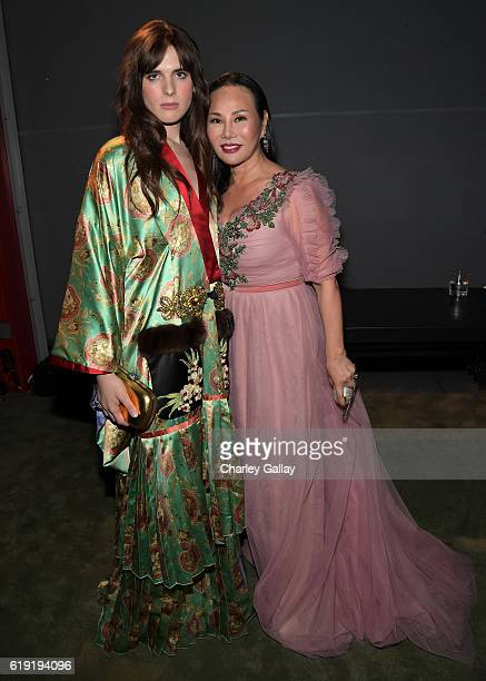 Model Hari Nef and host Eva Chow both wearing Gucci attend the 2016 LACMA Art Film Gala Honoring Robert Irwin and Kathryn Bigelow Presented By Gucci...