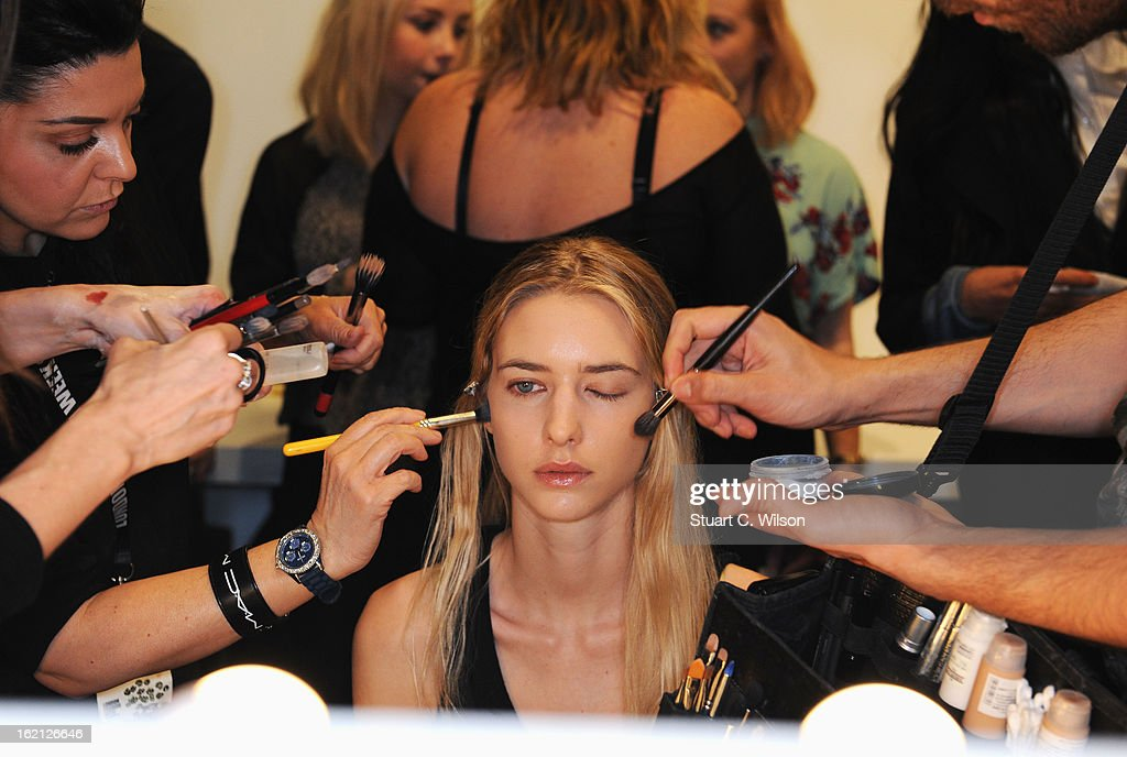 A model has her make up applied backstage at the Emilio de la Morena show during London Fashion Week Fall/Winter 2013/14 at Somerset House on February 19, 2013 in London, England.