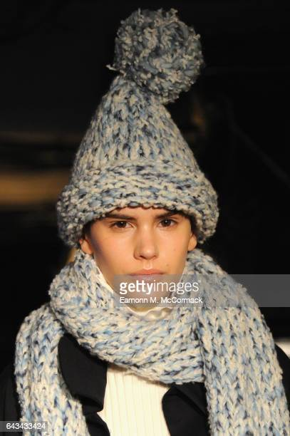 A model hat detail poses at the XIAO LI presentation during the London Fashion Week February 2017 collections on February 21 2017 in London England