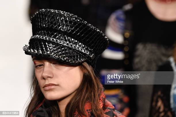 A model hat detail walks the runway at Desigual show during New York Fashion Week at Gallery 1 Skylight Clarkson Sq on February 9 2017 in New York...