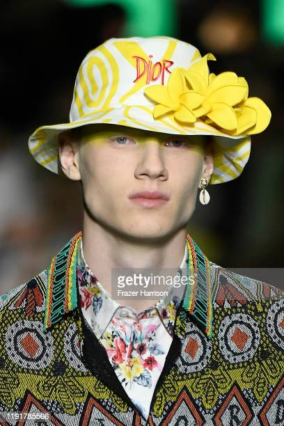 A model hat detail walks the runway at Dior Men's PreFall 2020 Runway Show on December 03 2019 in Miami Florida