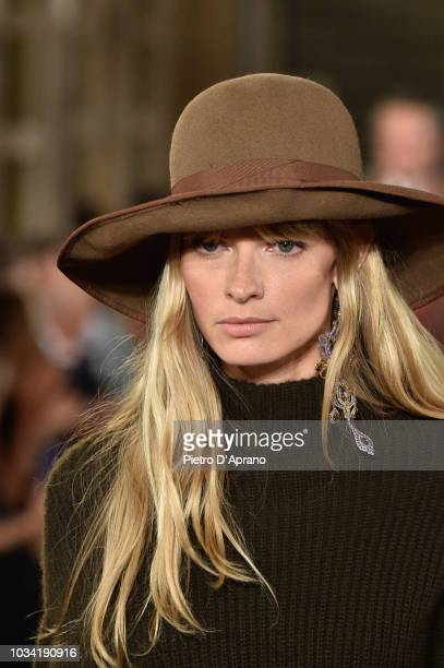 A model hat detail walks the runway at Ralph Lauren fashion show during New York Fashion Week on September 7 2018 in New York City