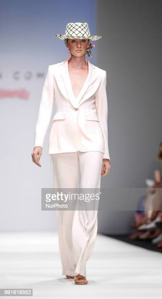 A model hat detail walks the runway at the Maison Common show during the Berlin Fashion Week Spring/Summer 2019 at ewerk on July 4 2018 in Berlin...