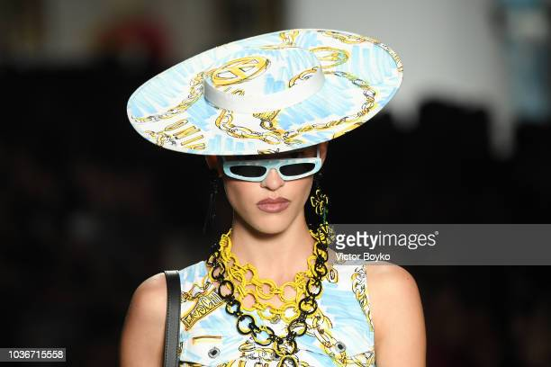 A model hat detail walks the runway at the Moschino show during Milan Fashion Week Spring/Summer 2019 on September 20 2018 in Milan Italy