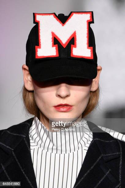 A model hat detail walks the runway at the MSGM show during Milan Fashion Week Fall/Winter 2017/18 on February 26 2017 in Milan Italy