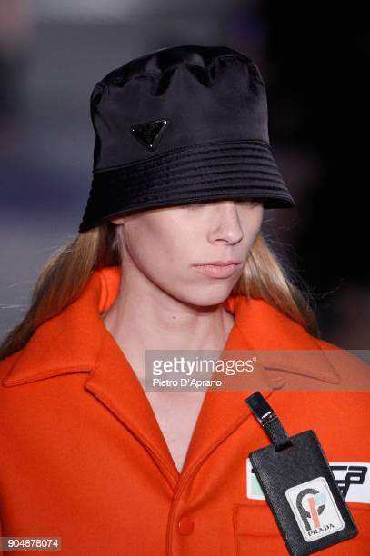 A model hat detail walks the runway at the Prada show during Milan Men's Fashion Week Fall/Winter 2018/19 on January 14 2018 in Milan Italy