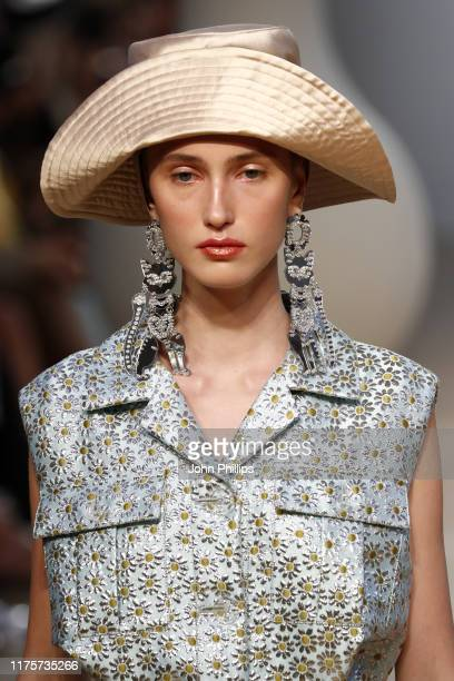 Model, hat detail, walks the runway at the Vivetta show during the Milan Fashion Week Spring/Summer 2020 on September 19, 2019 in Milan, Italy.