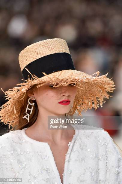 A model hat detail walks the runway during the Chanel show as part of the Paris Fashion Week Womenswear Spring/Summer 2019 on October 2 2018 in Paris...
