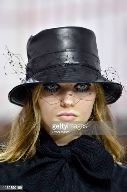 A model hat detail walks the runway during the Christian Dior show as part of the Paris Fashion Week Womenswear Fall/Winter 2019/2020 on February 26...