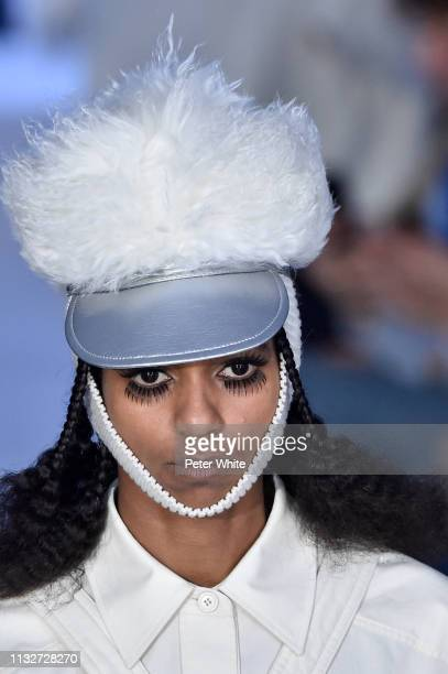 A model hat detail walks the runway during the Courreges show as part of the Paris Fashion Week Womenswear Fall/Winter 2019/2020 on February 27 2019...