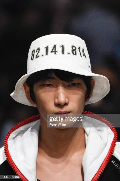 A model hat detail walks the runway during the Icosae Menswear Fall/Winter 20182019 show as part of Paris Fashion Week on January 17 2018 in Paris...
