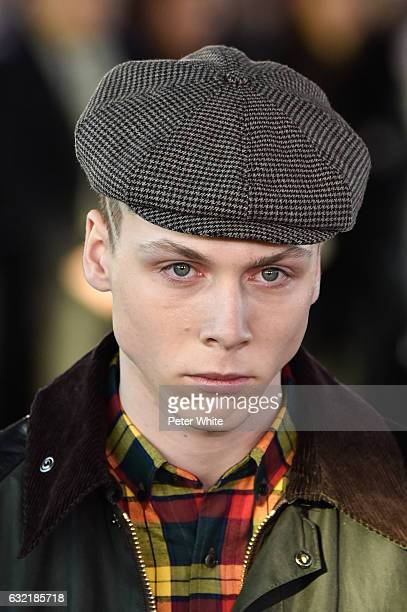 A model hat detail walks the runway during the Junya Watanabe Man Menswear Fall/Winter 20172018 show as part of Paris Fashion Week on January 20 2017...
