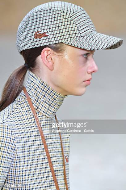 Model, hat detail, walks the runway during the Lacoste as part of the Paris Fashion Week Womenswear Fall/Winter 2020/2021 on March 03, 2020 in Paris,...