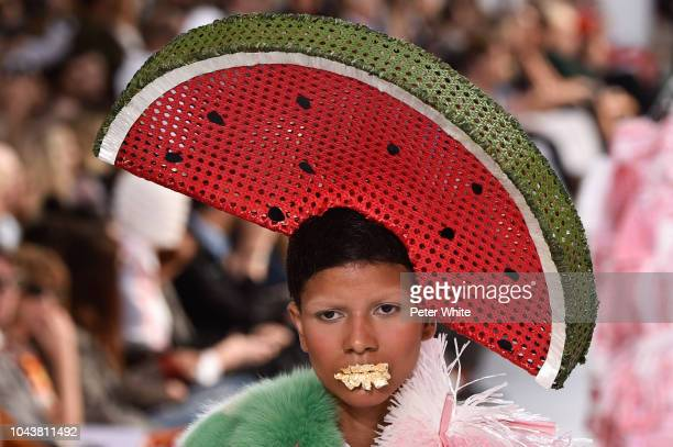 A model hat detail walks the runway during the Thom Browne show as part of the Paris Fashion Week Womenswear Spring/Summer 2019 on September 30 2018...