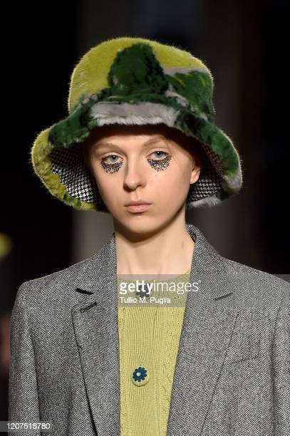 Model, hat detail, walks the runway during the Vivetta fashion show as part of Milan Fashion Week Fall/Winter 2020-2021 on February 20, 2020 in...