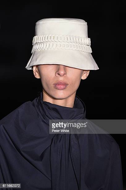 A model hat detail walks the runway during the Wanda Nylon show as part of the Paris Fashion Week Womenswear Spring/Summer 2017 on September 28 2016...