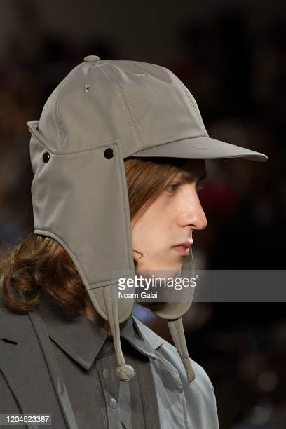 A model hat detail walks the runway for OQLIQ during New York Fashion Week The Shows at Gallery II at Spring Studios on February 06 2020 in New York...