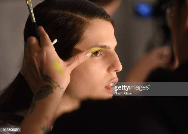 Model Hayett McCarthy poses backstage for Noon By Noor during New York Fashion Week The Shows at Gallery II at Spring Studios on February 8 2018 in...