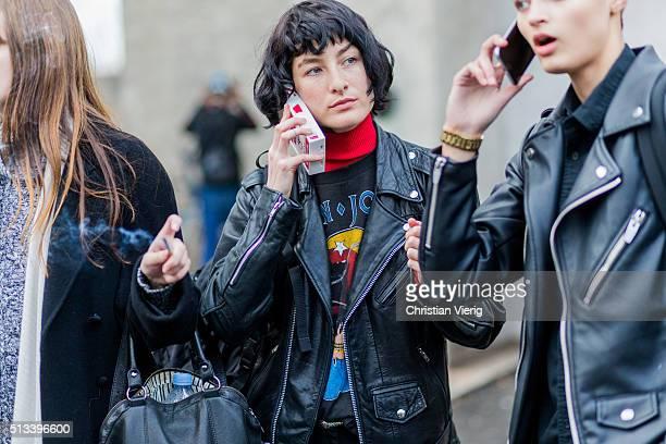 Model Heather Kemesky outside Rochas during the Paris Fashion Week Womenswear Fall/Winter 2016/2017 on March 2 2016 in Paris France
