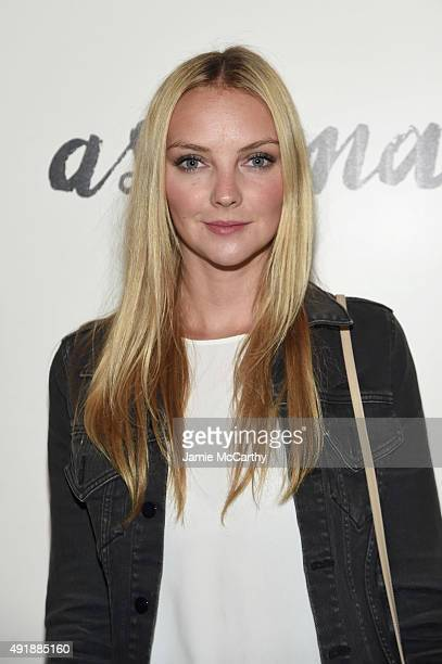 Model Heather Marks attends a screening of IFC Films' Asthma hosted by The Cinema Society and Northwest at Roxy Hotel on October 8 2015 in New York...