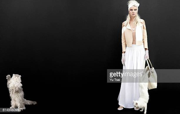 Model Heather Marks is photographed for a fashion editorial for Harpers Bazaar Singapore on November 14 2014 in Los Angeles California Published Image