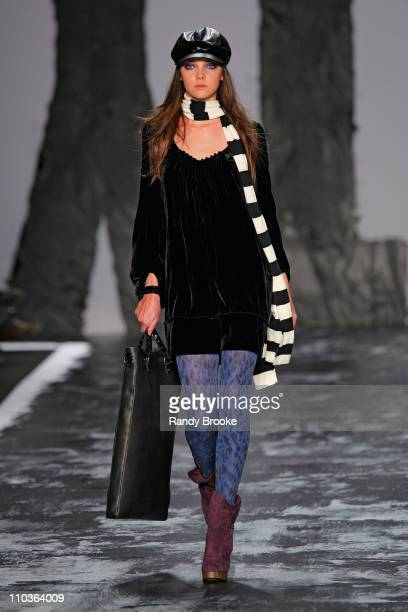 Model Heather Marks walks the runway at Miss Sixty during MercedesBenz Fashion Week Fall 2009 at The Tent in Bryant Park on February 15 2009 in New...