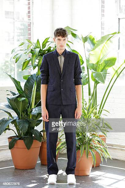 Model Hector Weden of Sweden poses at the Carlos Campos Spring/Summer 2016 Presentation during New York Fashion Week: Men's S/S 2016 at Industria...