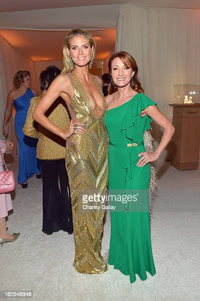 Model Heidi Klum and actress Jane Seymour attends Neuro at 21st Annual Elton John AIDS Foundation Academy Awards Viewing Party at West Hollywood Park...