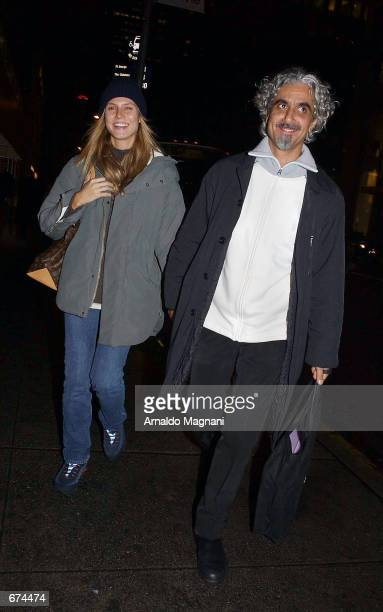 Model Heidi Klum and her husband Ric Pepino leave Barney's after shopping November 29 2001 in New York City