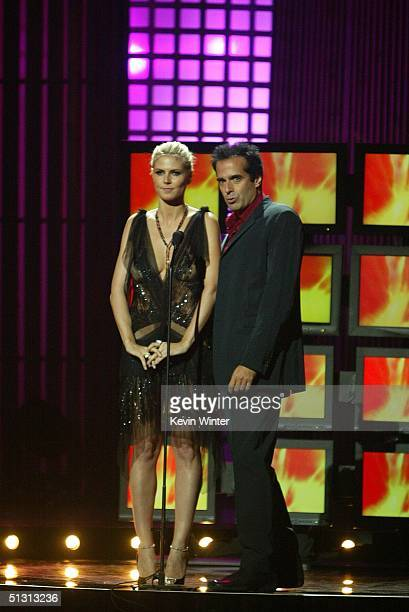 Model Heidi Klum and magician David Copperfield are seen on stage during the 2004 World Music Awards at the Thomas and Mack Center on September 15,...