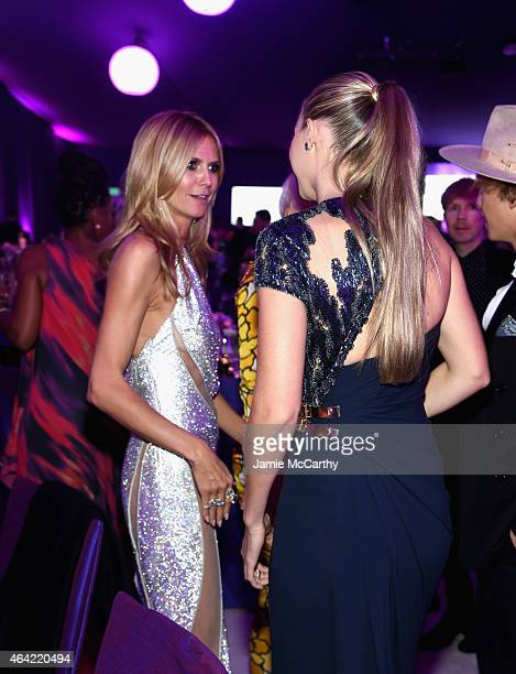Model Heidi Klum and model Gigi Hadid attend the 23rd Annual Elton John AIDS Foundation Academy Awards Viewing Party on February 22 2015 in Los...