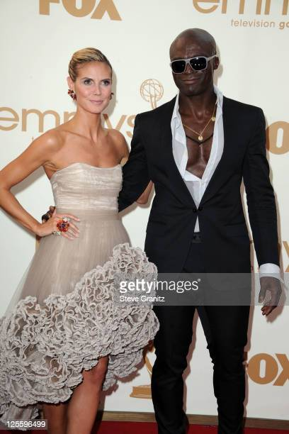 Model Heidi Klum and musician Seal arrive to the 63rd Primetime Emmy Awards at the Nokia Theatre LA Live on September 18 2011 in Los Angeles United...