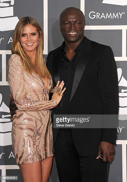 Model Heidi Klum and singer Seal arrive at the 52nd Annual GRAMMY Awards held at Staples Center on January 31 2010 in Los Angeles California