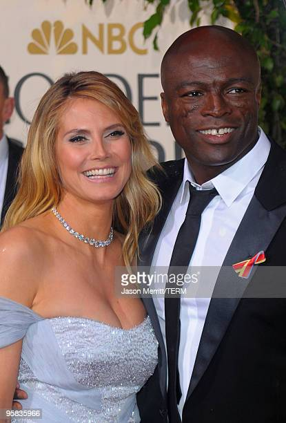 Model Heidi Klum and singer Seal arrive at the 67th Annual Golden Globe Awards held at The Beverly Hilton Hotel on January 17 2010 in Beverly Hills...
