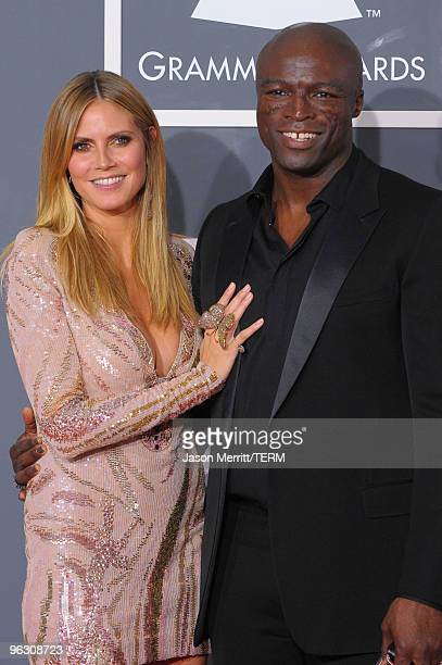 Model Heidi Klum and singer Seal arrives at the 52nd Annual GRAMMY Awards held at Staples Center on January 31 2010 in Los Angeles California