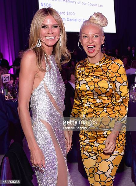 Model Heidi Klum and singer-songwriter Sia attend the 23rd Annual Elton John AIDS Foundation Academy Awards viewing party with Chopard on February...