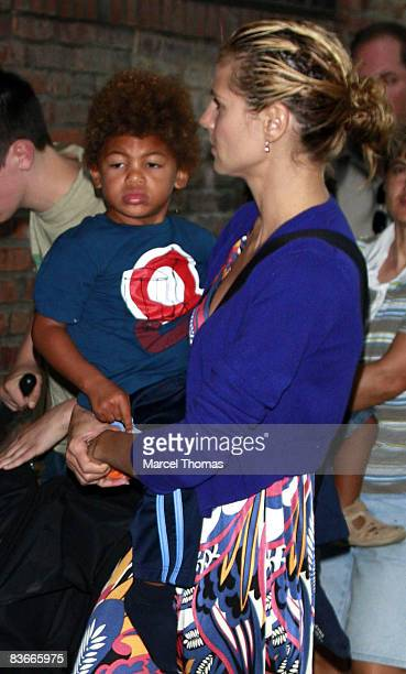 Model Heidi Klum and son Henry sighting walking in the west village on July 5 2008 in New York City