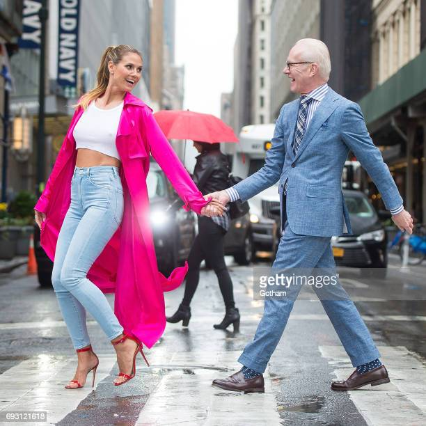 Model Heidi Klum and Tim Gunn are seen in Midtown during a taping of 'Project Runway' on June 6 2017 in New York City
