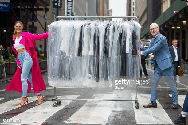 "Model Heidi Klum and Tim Gunn are seen in Midtown during a taping of ""Project Runway"" on June 6, 2017 in New York City."