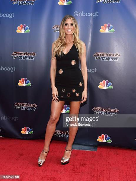 Model Heidi Klum arrives at NBC's America's Got Talent Judge Cut Rounds at the NBC Universal Lot on April 27 2017 in Universal City California