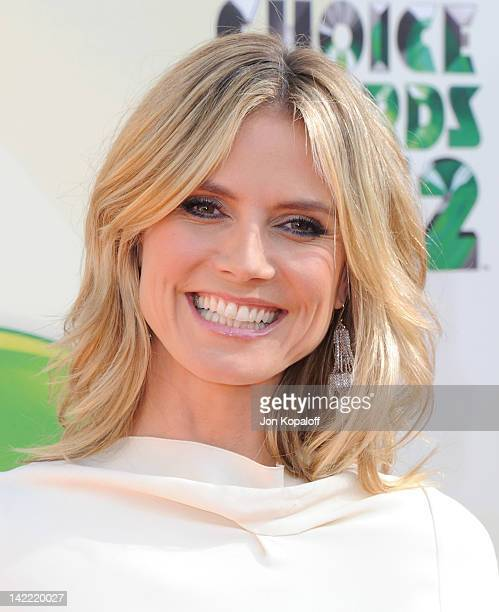 Model Heidi Klum arrives at the 2012 Nickelodeon's Kids' Choice Awards held at the Galen Center on March 31 2012 in Los Angeles California