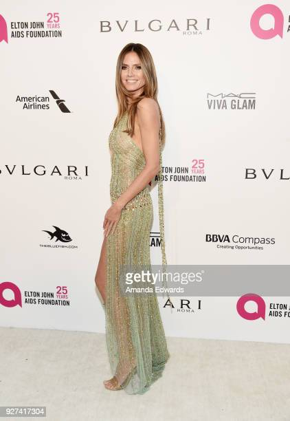 Model Heidi Klum arrives at the 26th Annual Elton John AIDS Foundation's Academy Awards Viewing Party on March 4 2018 in West Hollywood California