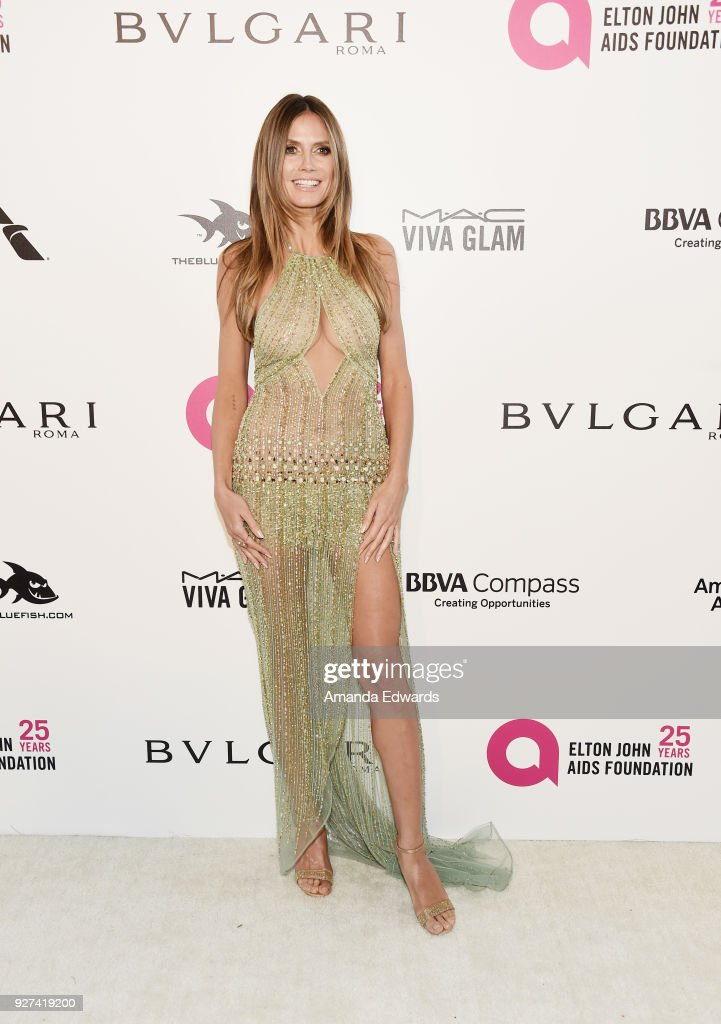 Model Heidi Klum arrives at the 26th Annual Elton John AIDS Foundation's Academy Awards Viewing Party on March 4, 2018 in West Hollywood, California.