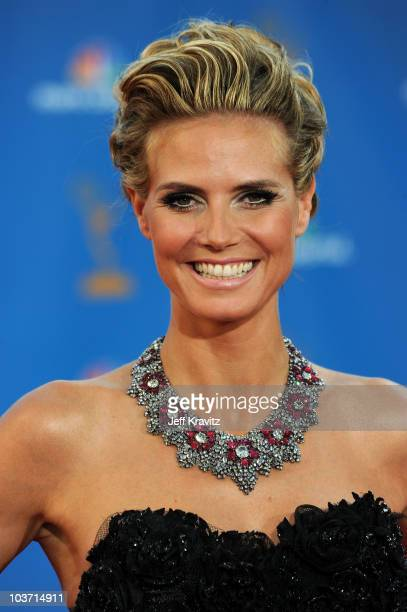 Model Heidi Klum arrives at the 62nd Annual Primetime Emmy Awards held at the Nokia Theatre LA Live on August 29 2010 in Los Angeles California