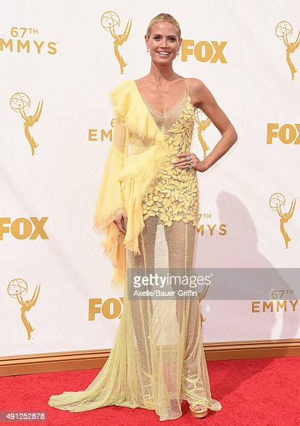 Model Heidi Klum arrives at the 67th Annual Primetime Emmy Awards at Microsoft Theater on September 20 2015 in Los Angeles California