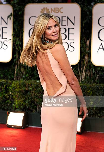 Model Heidi Klum arrives at the 69th Annual Golden Globe Awards held at the Beverly Hilton Hotel on January 15 2012 in Beverly Hills California