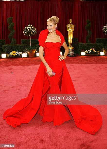 Model Heidi Klum arrives at the 80th Annual Academy Awards held at the Kodak Theatre on February 24 2008 in Hollywood California